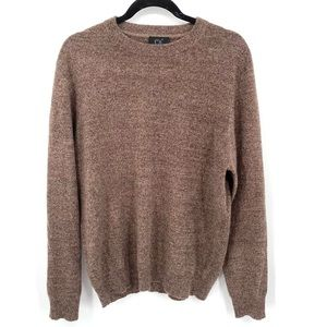 QI cashmere long sleeve crew neck brown sweater